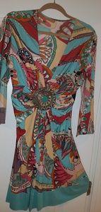 SKY tunic/mini dress stretch silk turq medallion